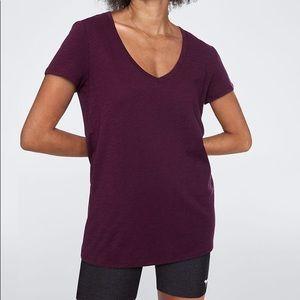 PInk Victoria's Secret maroon v-neck T-shirt top
